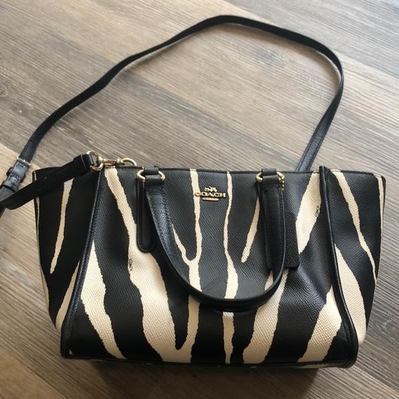 Coach Handbags - Coach Zebra Print Leather Satchel